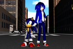 The blue hedgehog and the blue singer by supersonicwind69