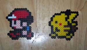 Ash Red Pikachu Perler Beads by Viverra1