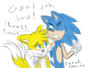 Sonic And Tails Doodle by Sarah-Herron