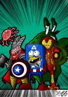 Sponge Bob and friends  + avengers = :) :):):):):) by NECROGODMETAL