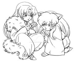 Fluffy and Puppy, revamp. inks by kiki-chan78