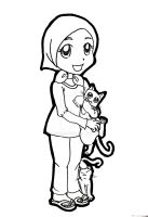 A Girl with her cats by didihime