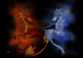 Fire vs Ice by lalafox456