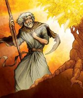 Moses at the Burning Bush by eikonik