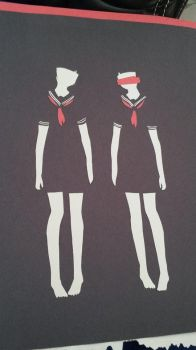 paper art no name girls by BVBlism