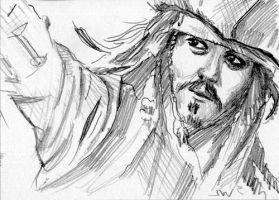 Jack Sparrow Pirates of the Caribbean Sketch Card by Stungeon
