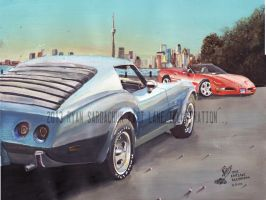 Two Corvettes (1976 and 1999) Painting by FastLaneIllustration