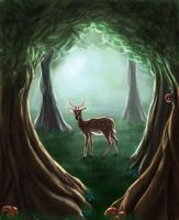 Deer Woodland by FleetingEmber