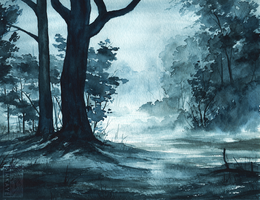 Rainy Forest Watercolour by Simkaye