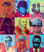 TF2 palette portraits. (team RED) by MoyraNagai