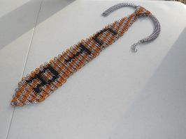 Orange and Silver CTR ChainMaille Neck Tie by Telperinon