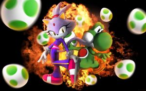 Blaze The Cat And Yoshi - Wallpaper by SonicTheHedgehogBG