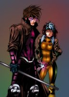 Gambit and Rogue by Chronicle-l