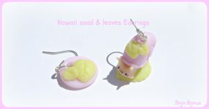 Kawaii snail and leaves earrings by Bojo-Bijoux