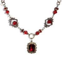 red steampunk Necklace by CatherinetteRings