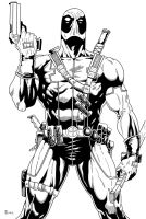 Deadpool close up Inked by TyndallsQuest