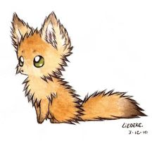 fluffy fennec fox by Liedeke