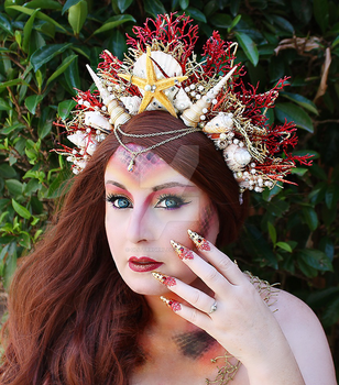 Fire Mermaid Crown and Claws by glittrrgrrl