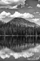 The First Rise on a Tranquil Lake BW by mjohanson