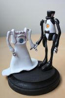 P-body and Atlas [Portal Wedding Topper] by lonelysouthpaw