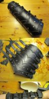 Black scaled leather bracer by Durnstaros