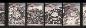 Marvel sketch cards set 1 of 5 by soliton