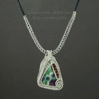 Sterling wrapped Ruby in Fuschite by sylva