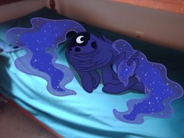 Luna sleeping on my bed by Toa-Ignicus