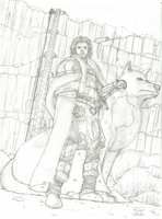 sketch - Jon Snow and Ghost by FelipeAquino