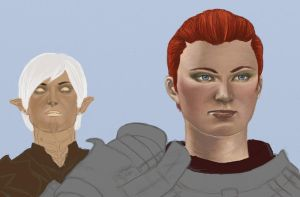 Hawke and Fenris - WIP color by Neryn
