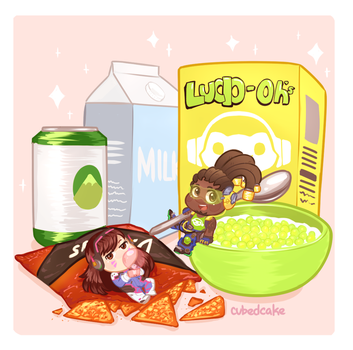 Overwatch Food Set - Lucio-Oh's and D.VA's by CubedCake