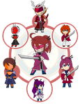 Assorted Chibis - AU Hexafusion 6 by Dragon-FangX