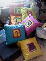 Mario Block Pillows by -silverwing-