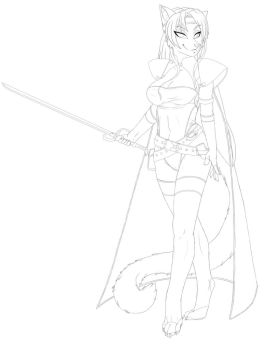 Celes Chere Fanart - Clothed Lineart WiP by Evangellos
