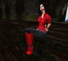 Jeans and Red Blouse by ValeriaY