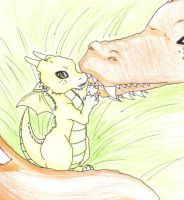 Baby Dragon and Mother by kittykatkay