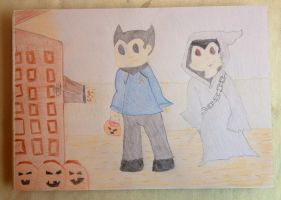 Astro Boy and Uran Halloween Treat by extraphotos