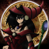 Crimson Dark magician Lady the Yugioh card image by DarkHedgehog23