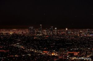 Downtown Los Angeles skyline at dusk by elnina999