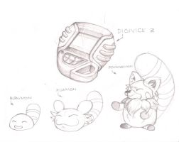 Digimon and Digivice skecth by clyder
