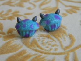 Monsters Inc. Cupcake Studs-Polymer Clay-Posts by ThePetiteShop