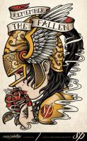 Remember The Fallen Memorial Tattoo Design by Sam-Phillips-NZ