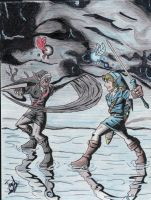 Link takes on Dark Link by Twinkie5000