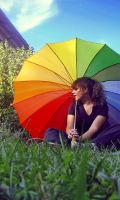 rainbow umbrella. by smokedval-stock