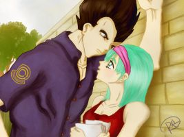 Vegeta and Bulma colored by Sh3ikha