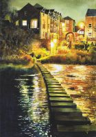 Morpeth Stepping Stones - Watercolour by NorthumbrianArtist
