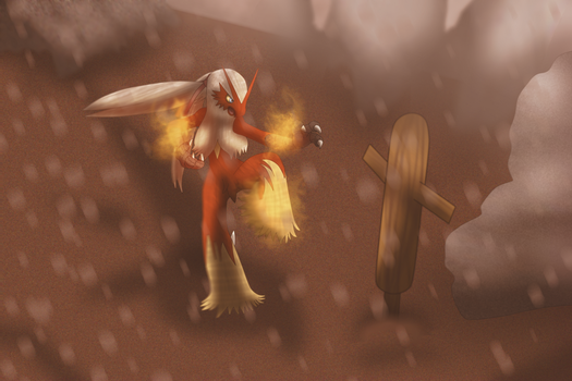 Commission 6/6: Blaziken in a mountainous area by OneLoveDrew