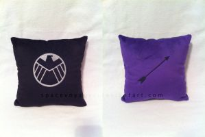 Double sided Hawkeye pillow by PlanetPlush