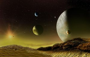 view of a yellowish planet by Johndoop