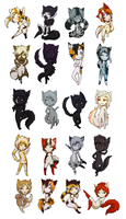 Chibi cats by mu-nin